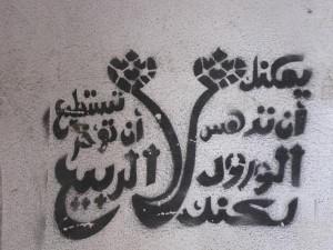 Ο τίτλος από στενσιλ στους φλεγόμενους δρόμους της Αιγύπτου